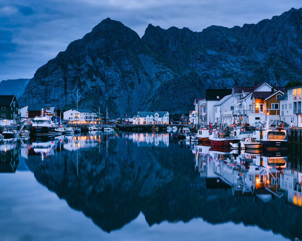 Henningsvær at midnight by Sam Green