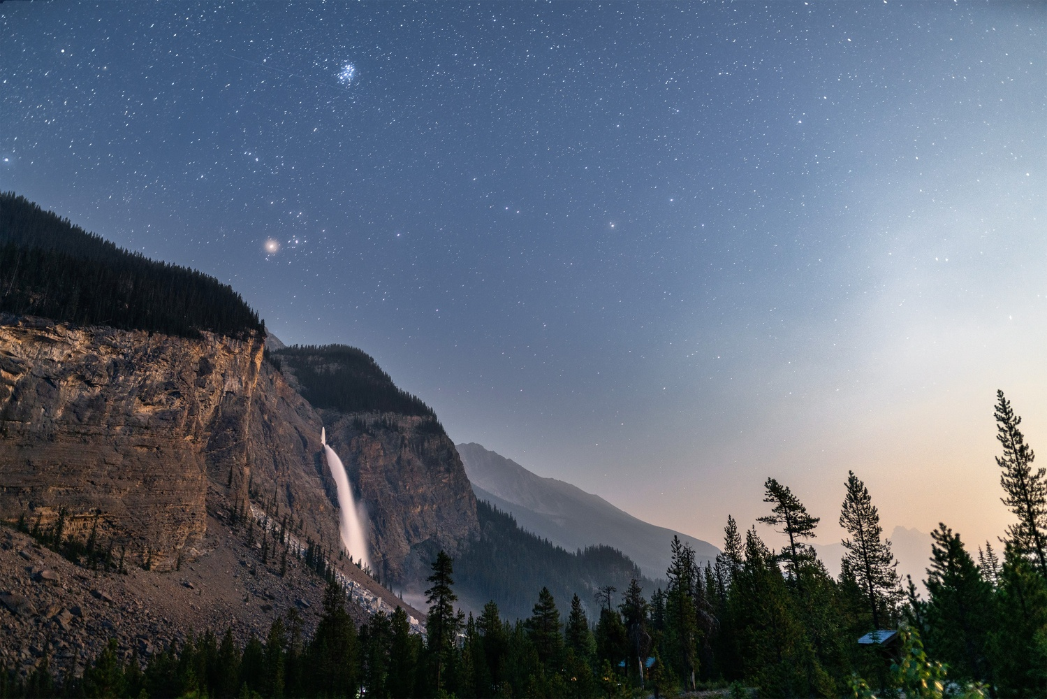 Takakkaw Falls x Moonset by Jordan Van Wyk