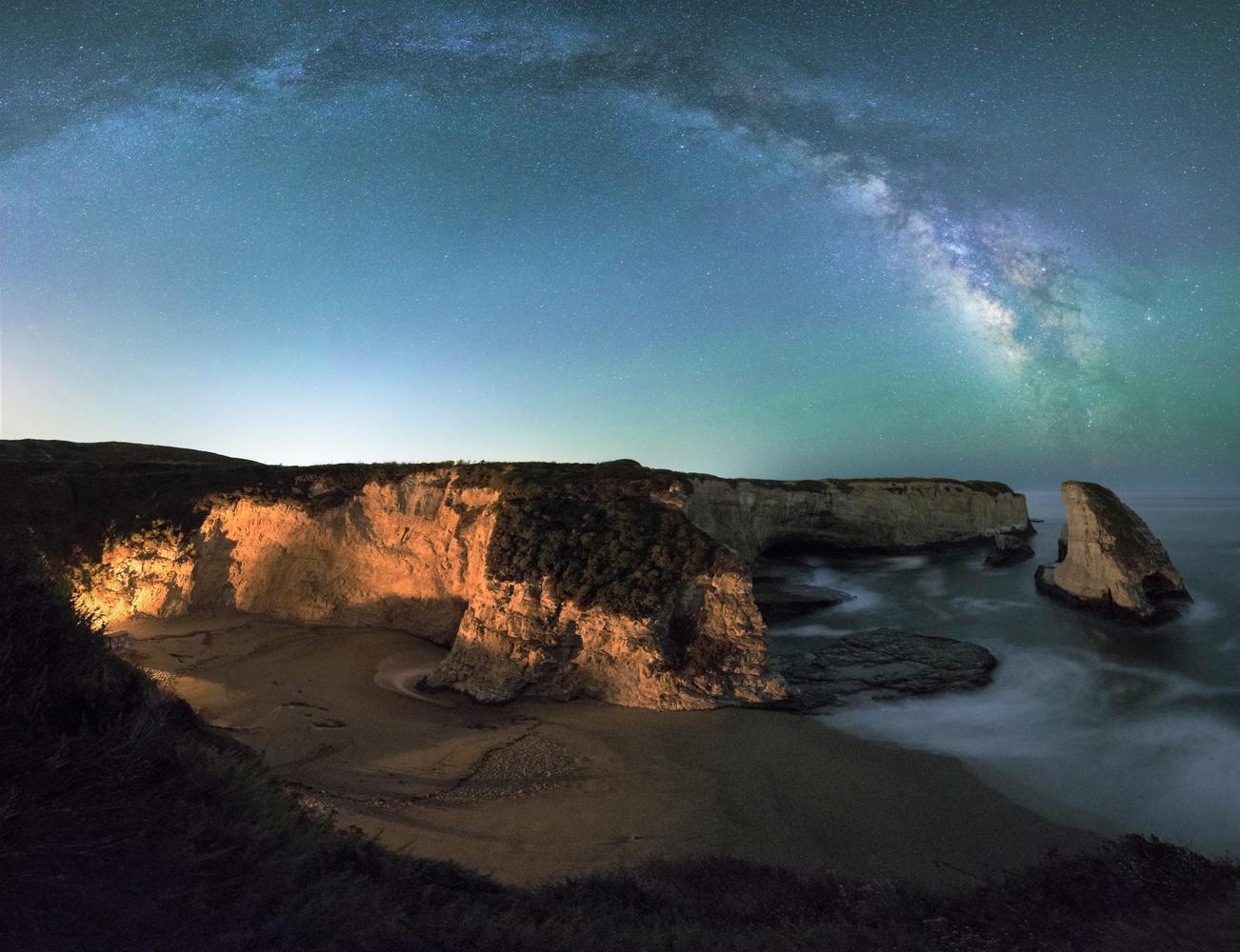Shark Fin Cove Bonfire by Bryan Rossi
