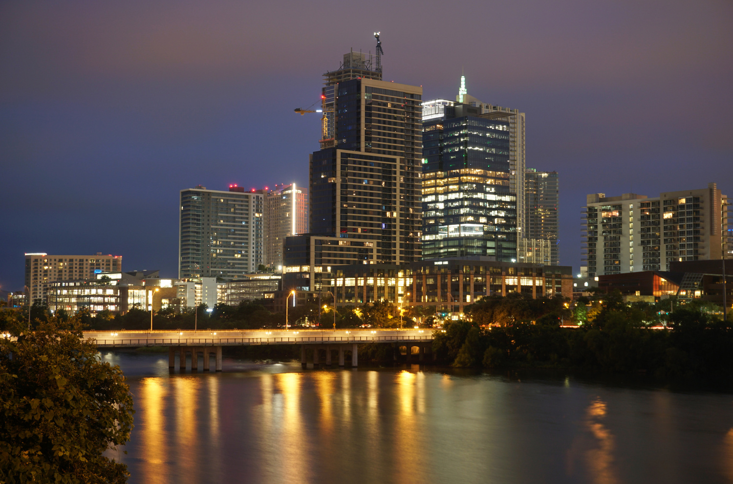 Austin Night River Reflection by Justin Lauria