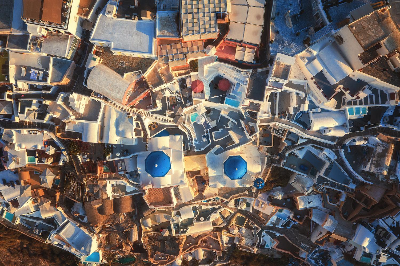 Santorini - Oia Aerial by Jean Claude Castor