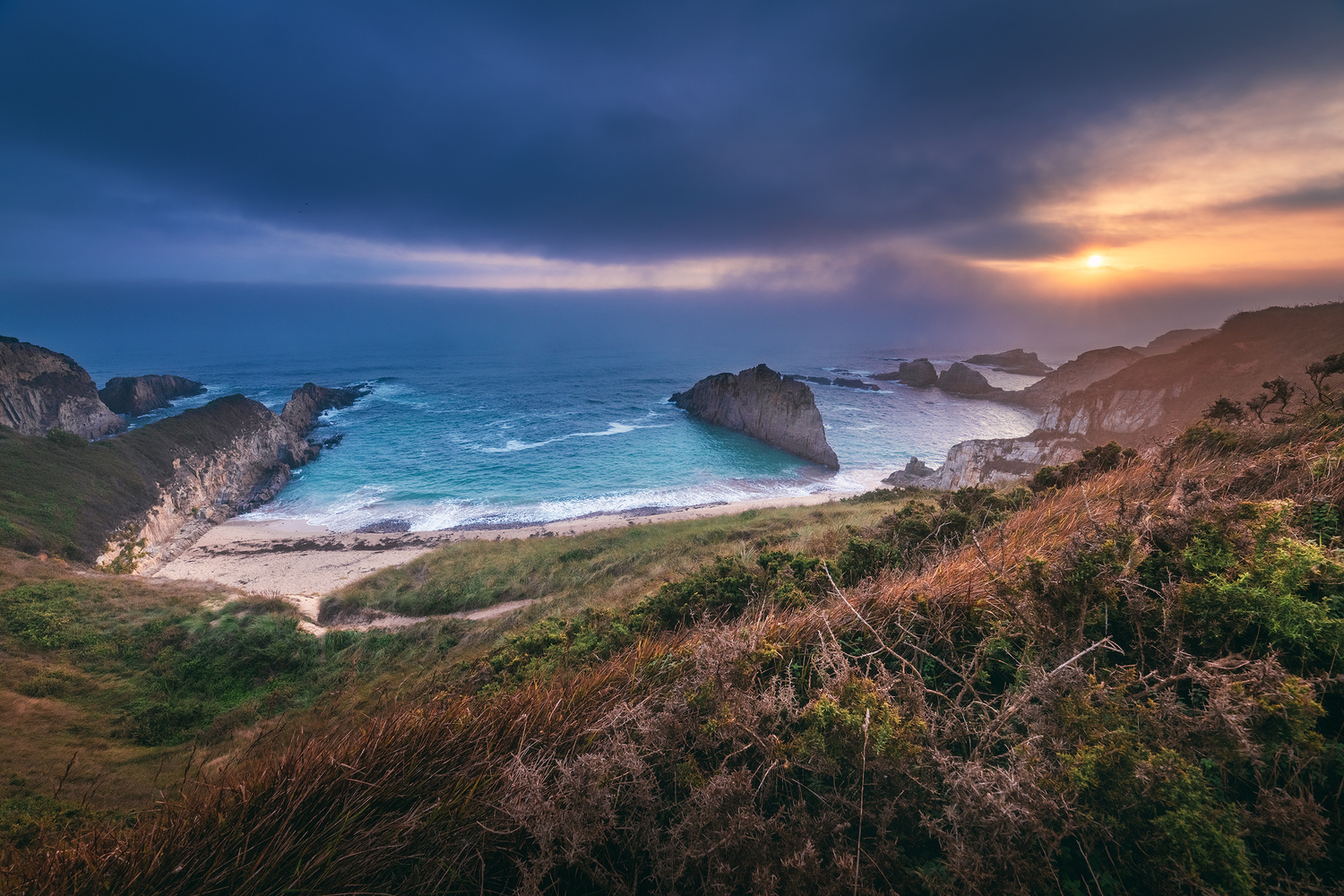 Asturias - Playa Mexota Sunrise by Jean Claude Castor