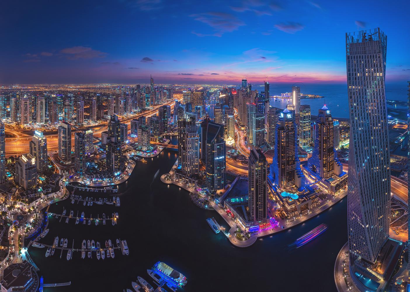 Dubai - Marina Skyline Panorama by Jean Claude Castor