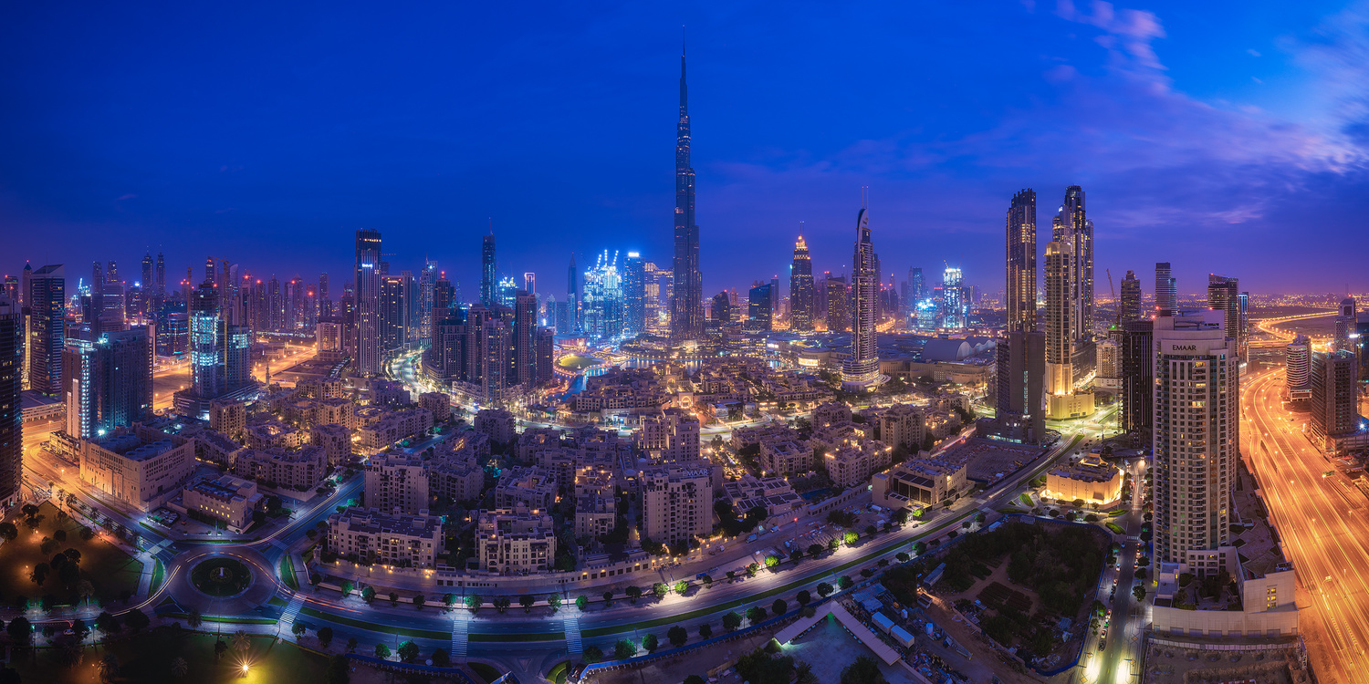 Dubai - Skyline Panorama Blue Hour by Jean Claude Castor