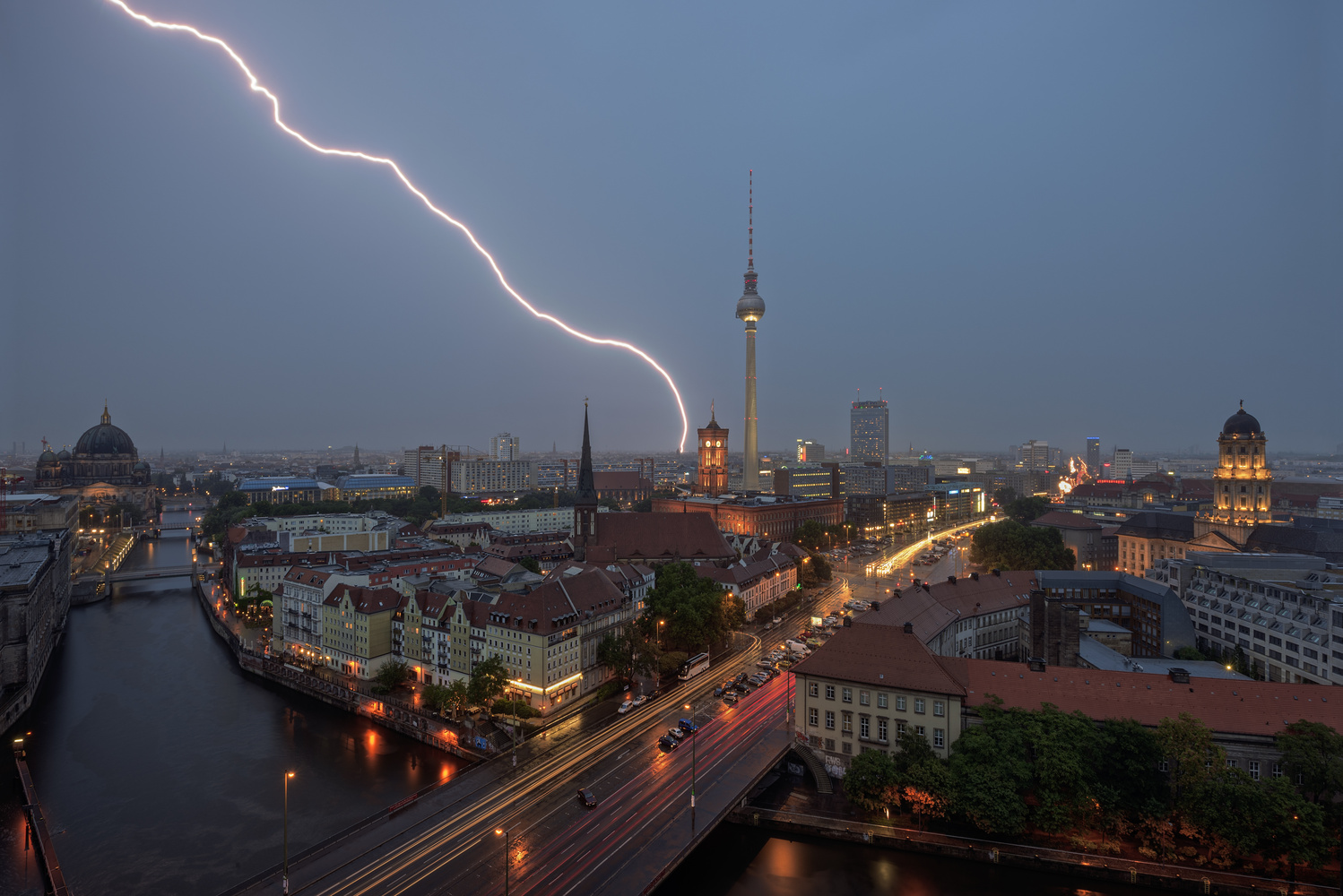 Lightning over the City (Berlin/Germany) by Bruce Girault