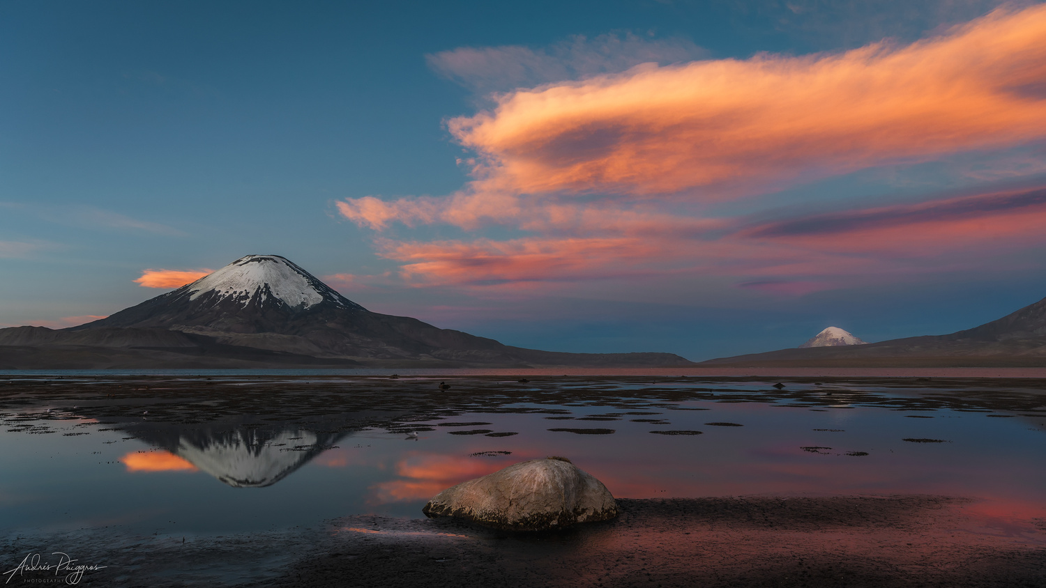 Parinacota volcano reflected in Chungará Lake by Andres Puiggros