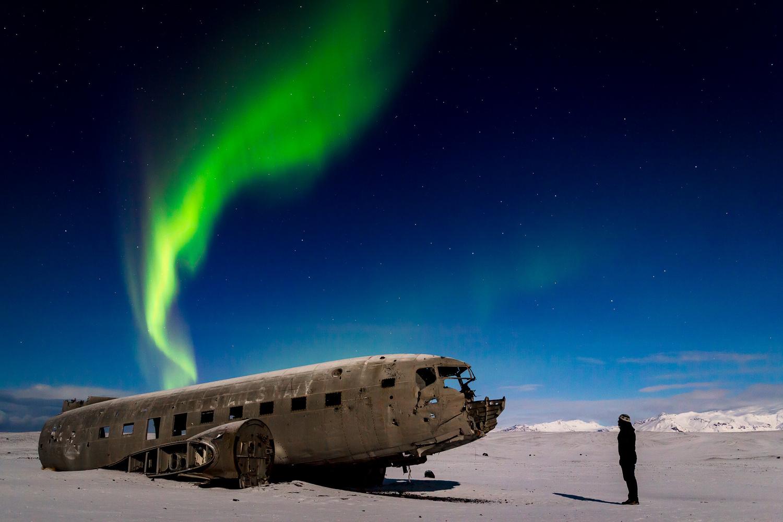 Northern Lights Above DC-3 Wreck by Jeroen Van Nieuwenhove