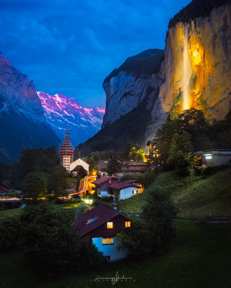 Blue Hour in Lauterbrunnen. by Jimmy Kohar