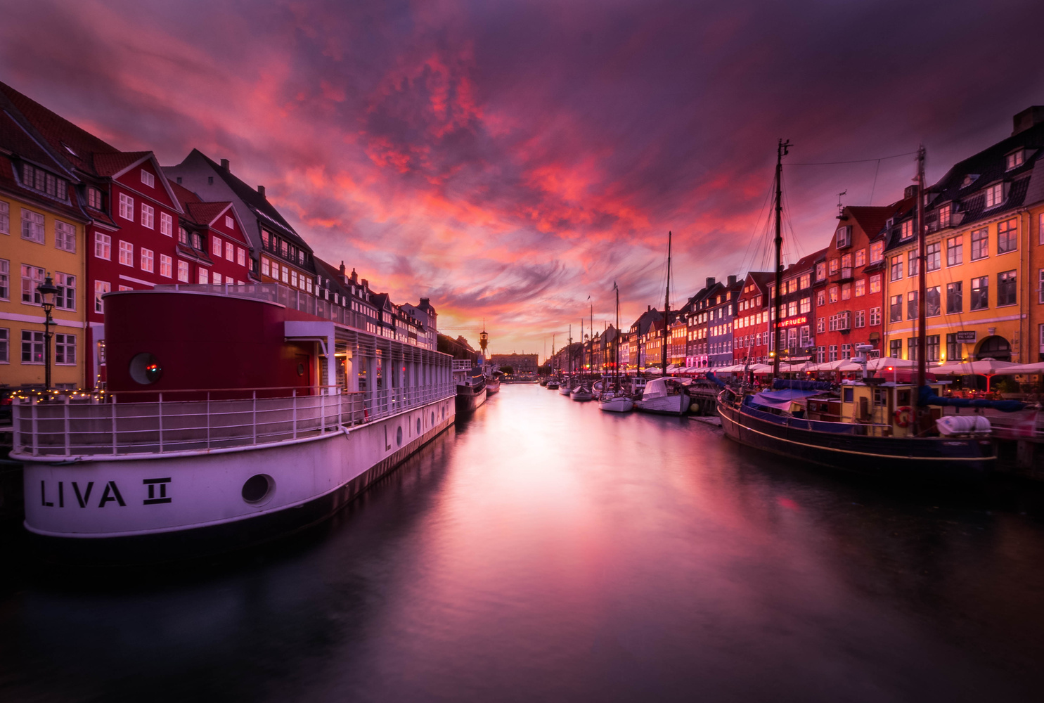 Amazing sky over Nyhavn  by David Wan