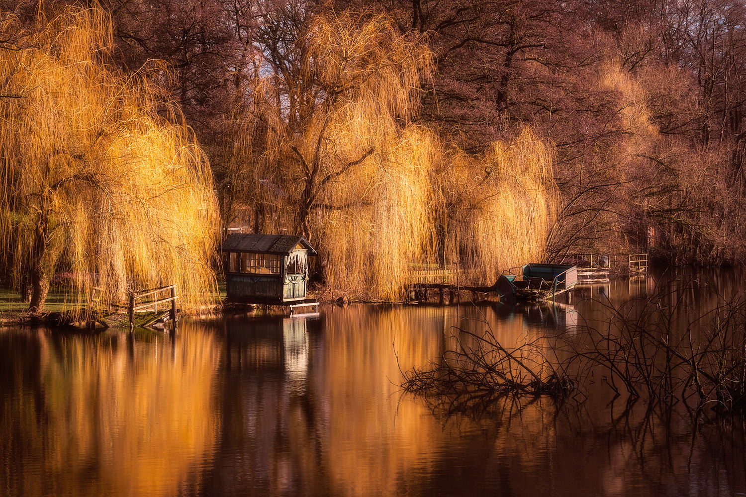 cabin at the lake by Axel Jusseit
