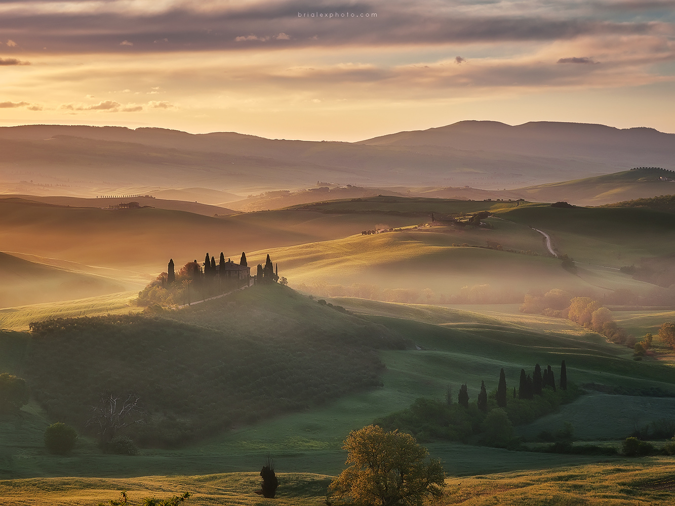 Misty morning in Val d`Orcia by Brighilă Alex