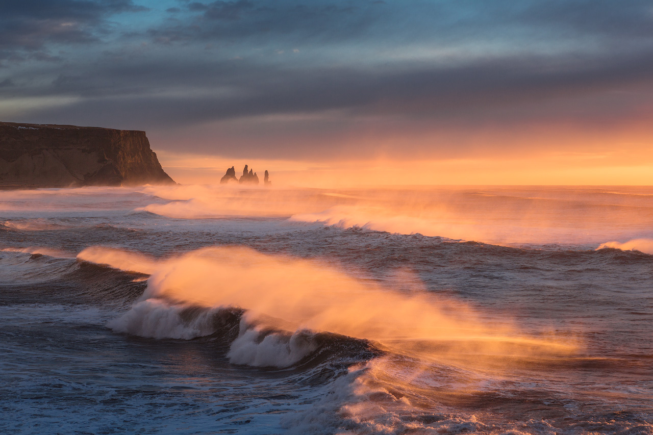 Sunrise over the Black Sand Beach by Iurie Belegurschi