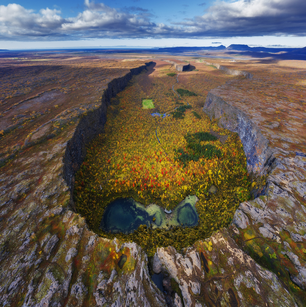 Aerial View of Asbyrgi by Iurie Belegurschi