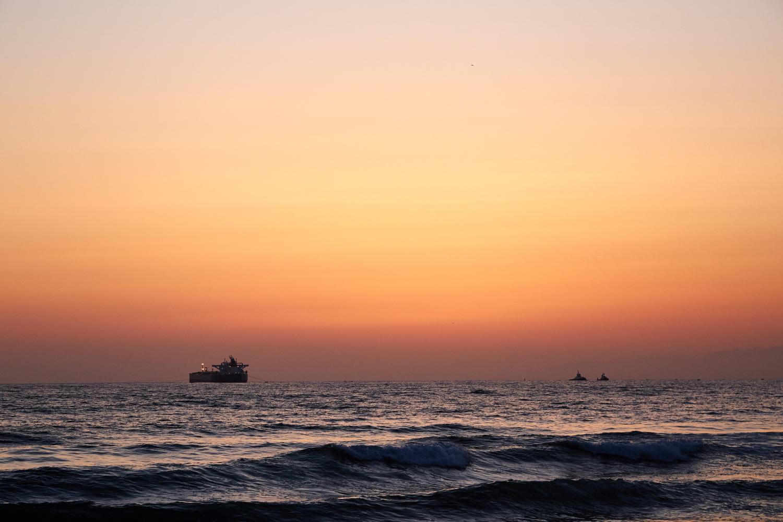 Sunset Oil Tanker 2 by Loreana Rojas