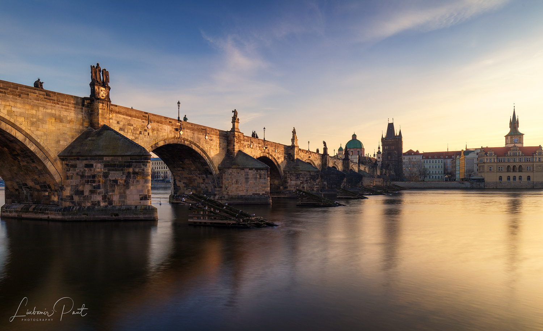 Charles bridge at sunrise... by Liubomir Paut