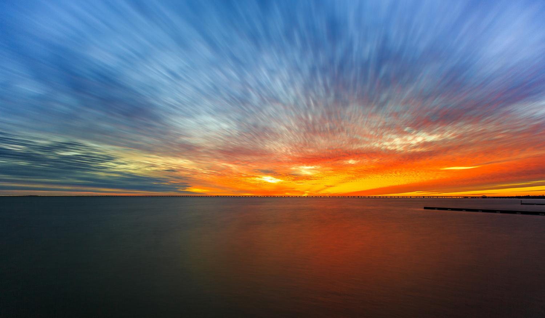 Long exposure Lake Pontchartrain Sunset. by David Pavlich