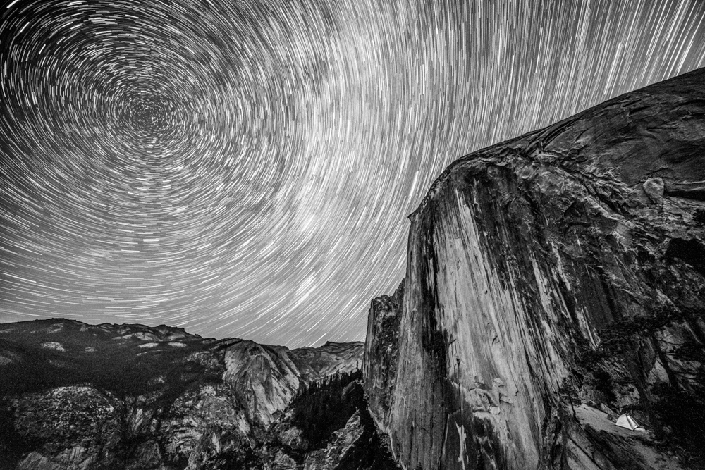 Half Dome as seen from Diving Board, at night by Matthew Saville