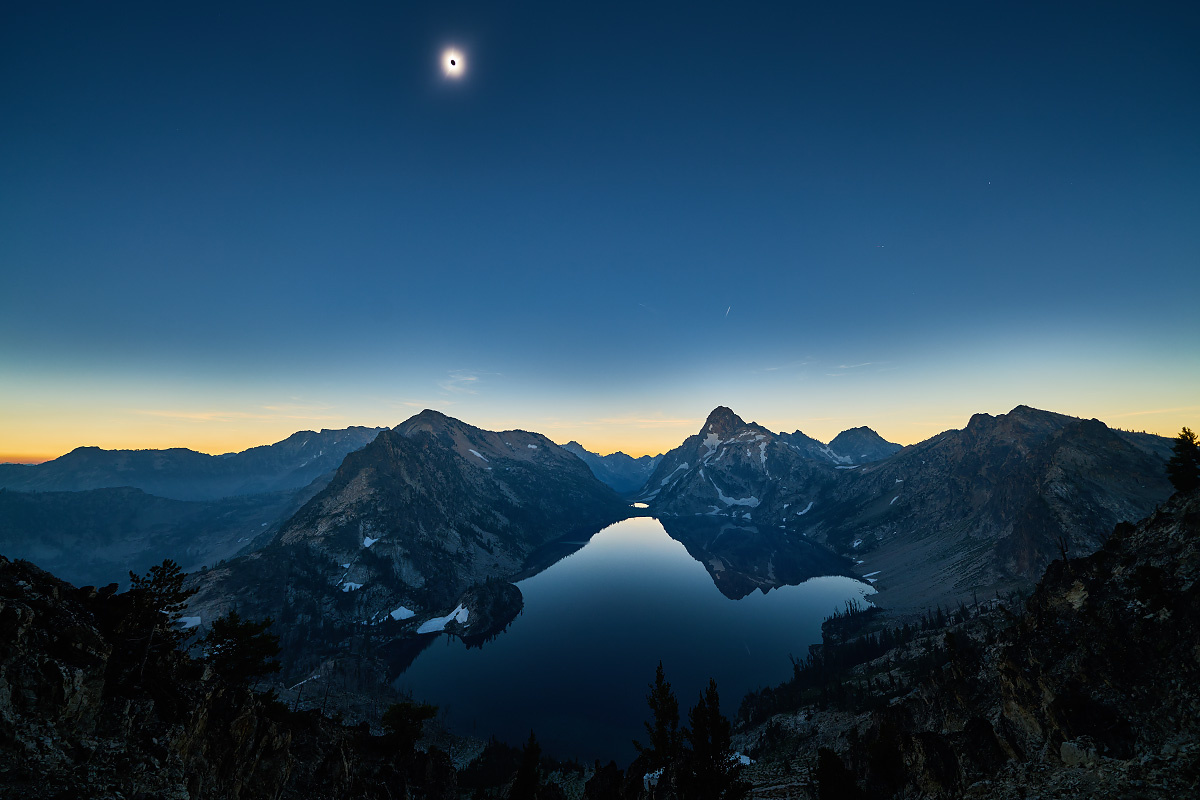 The Path Of Totality over Sawtooth Lake by Matthew Saville