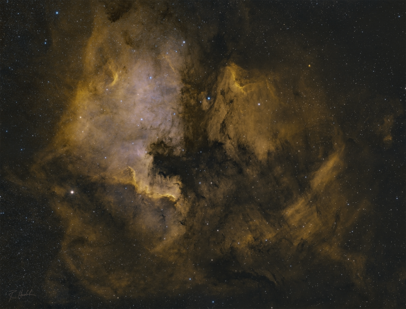 4 panel mosaic of the North American and Pelican Nebulas, and the Great Wall in Cygnus by Robert Huerbsch