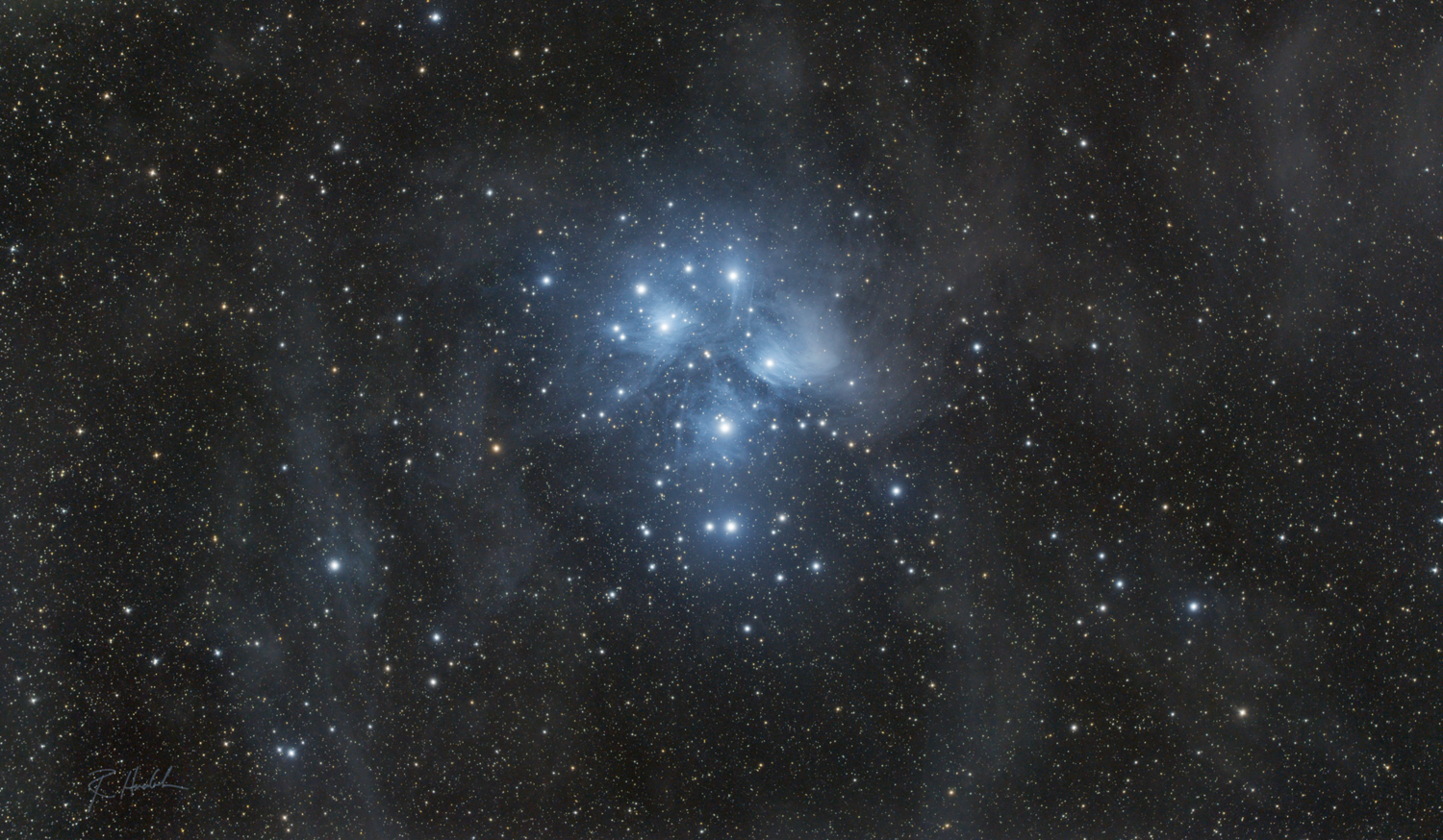 The Pleiades surrounded by dust lanes by Robert Huerbsch