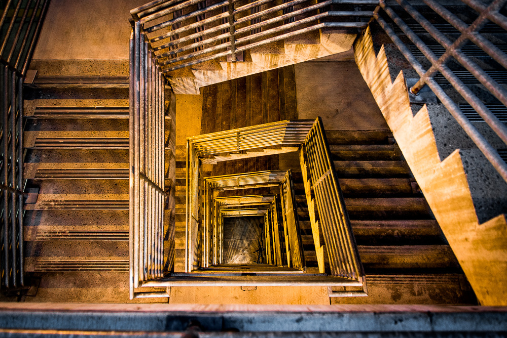 Stairwell at night by John Teague