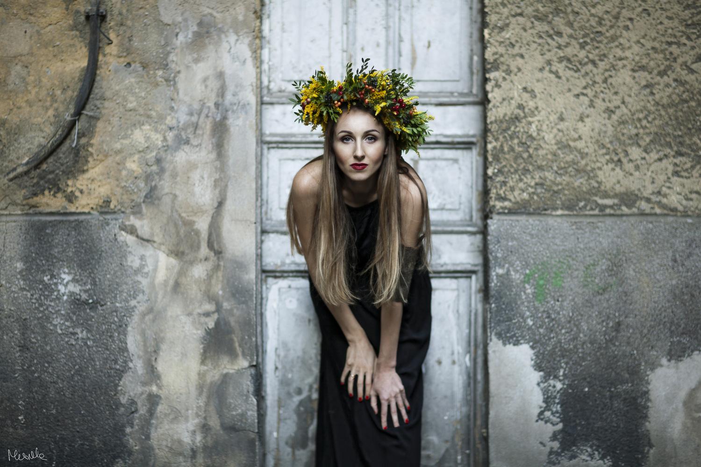 Natalia in a crown of flowers by Aleksandra Musiaka
