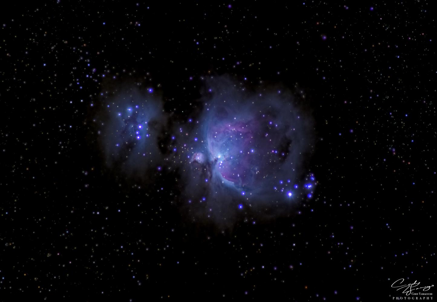 (M42)Orion Nebula, (M43) De Mairan's Nebula and (Sh2-279) Running Man Nebula from Mouna Loa. by Cody Yamaguchi