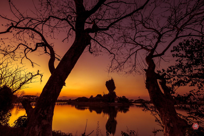 Kyauk-Kalat Pagoda's Glory Sunset by Oscar Kaung