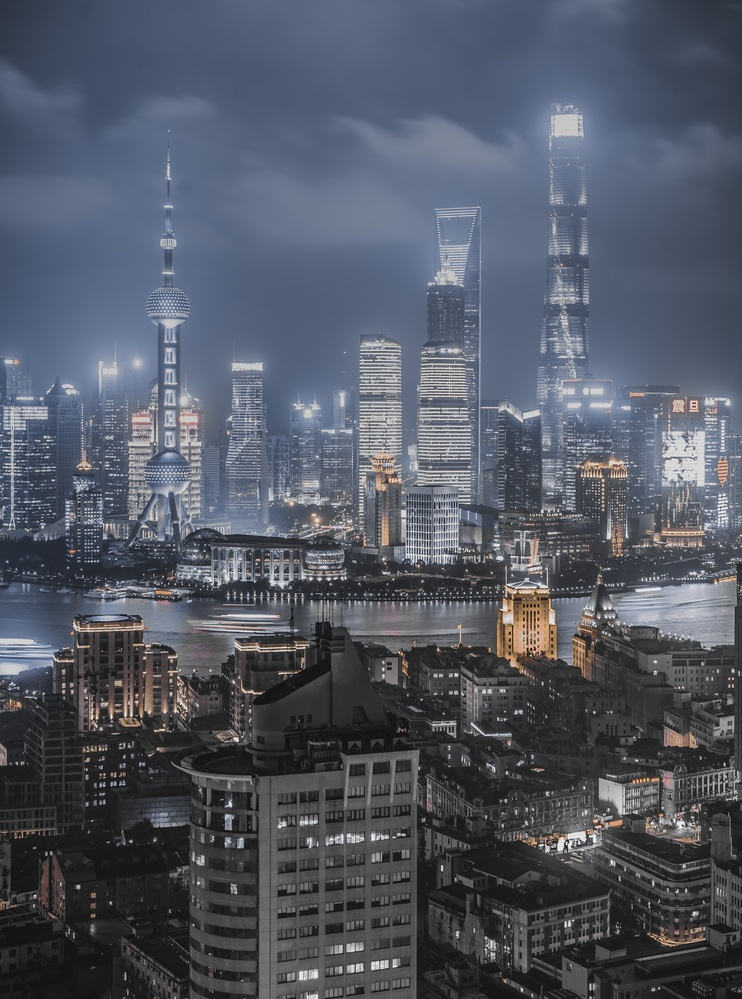Shanghai Bund skyline at night by Wesley Khoo