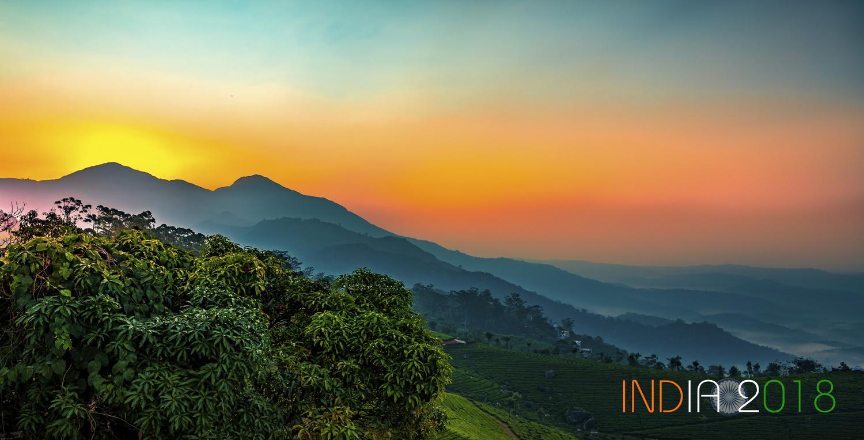 Sunrise on Tea Plantation by Arvind Vallabh
