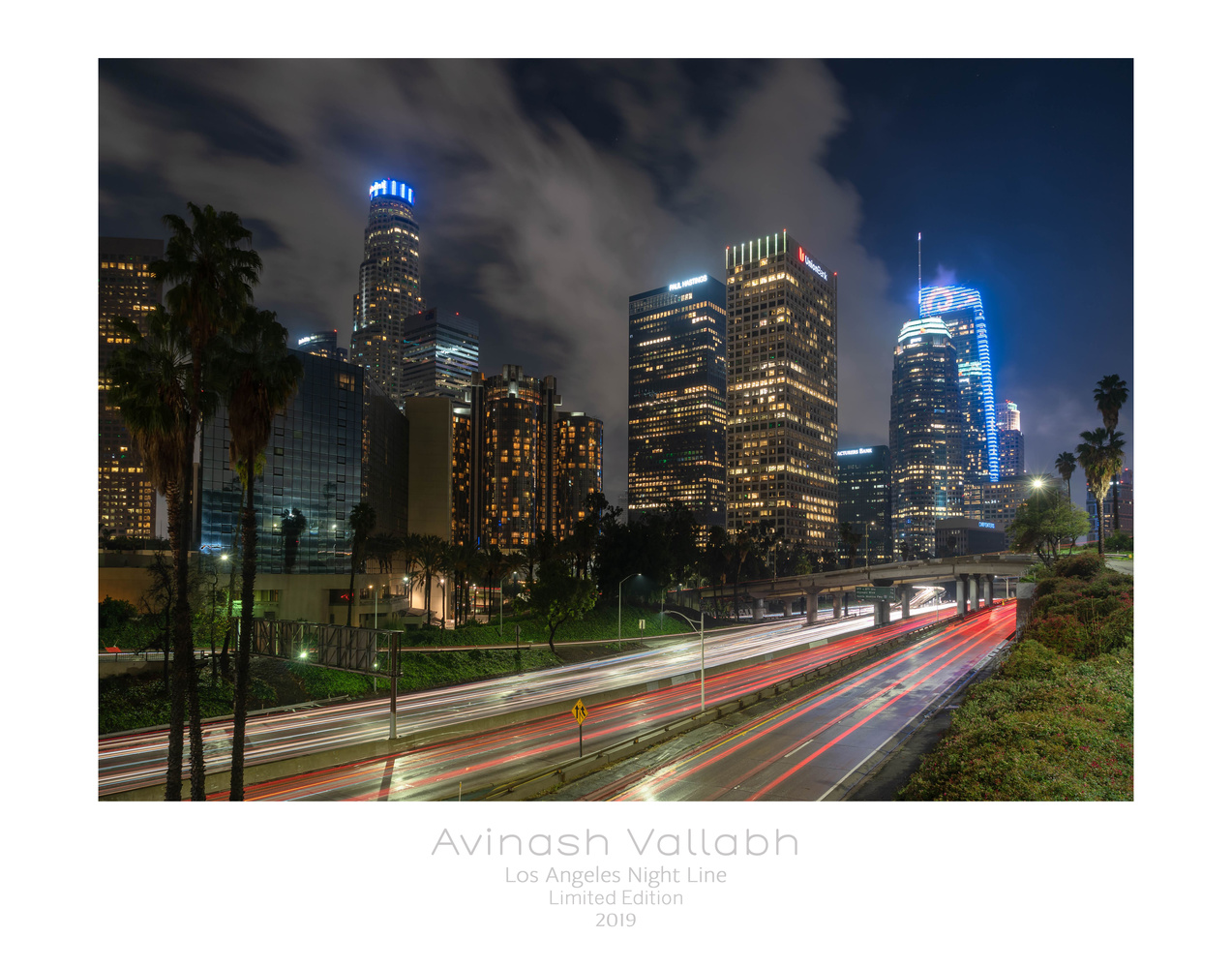 Night Time LA Downtown by Arvind Vallabh