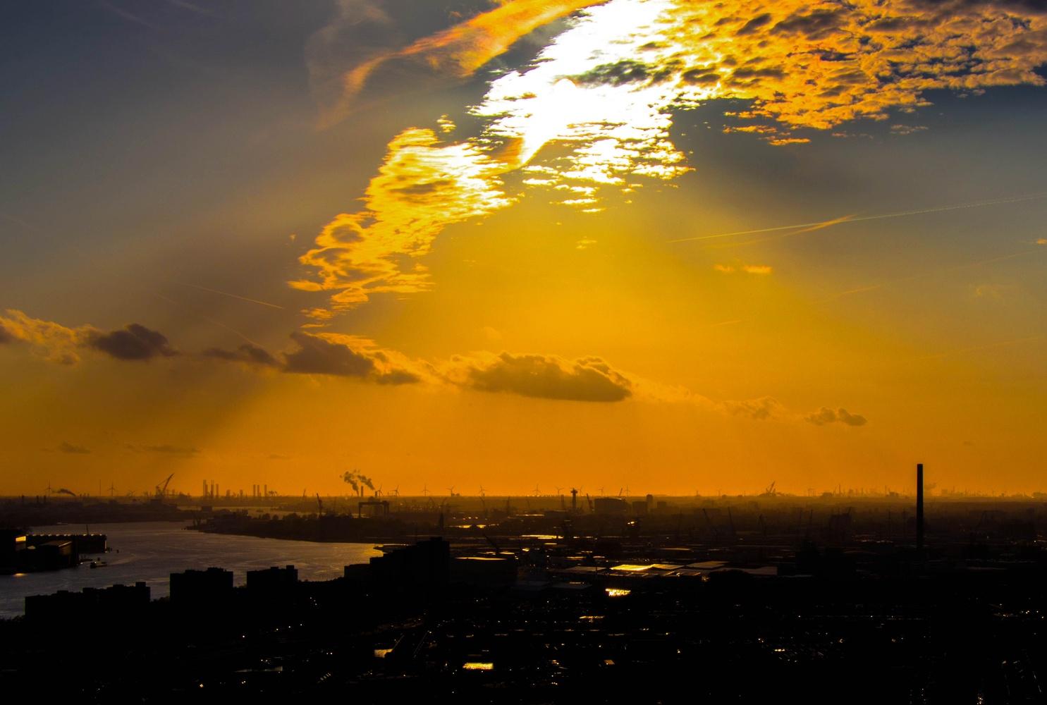 Sunset over Rotterdam by Stijn de Heus