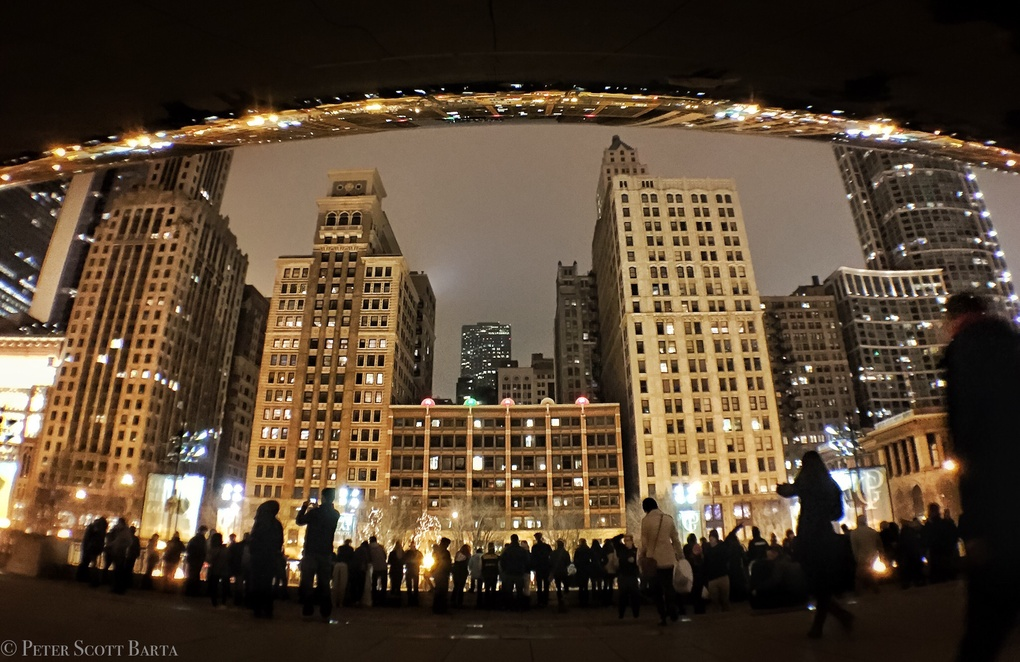Reflections under Cloud Gate by Peter Barta