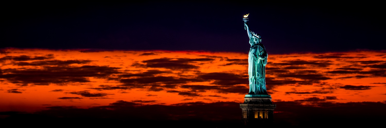State of Liberty at Sunset by Peter Barta