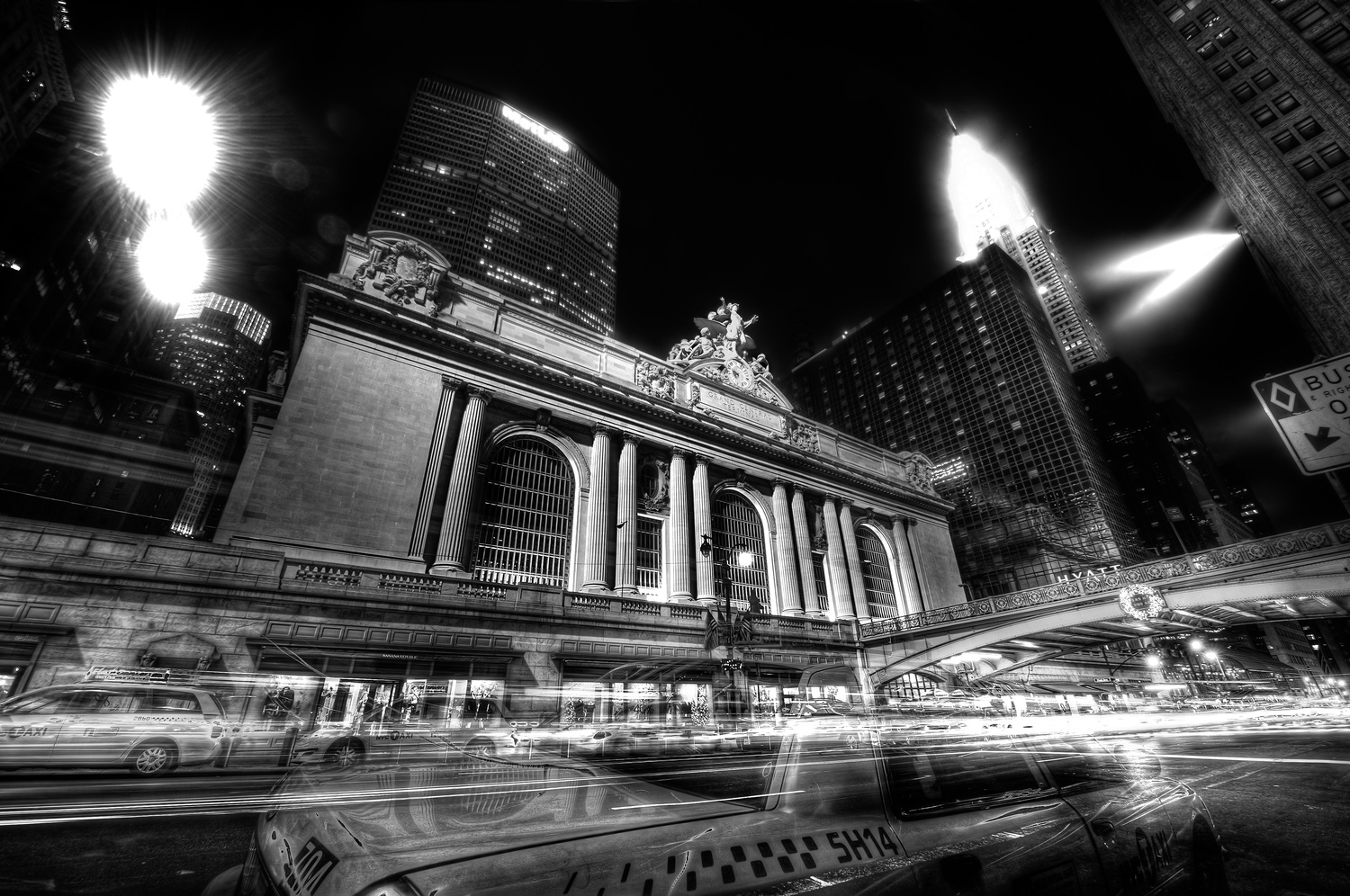 Taxi at Grand Central Station HDR by Peter Barta