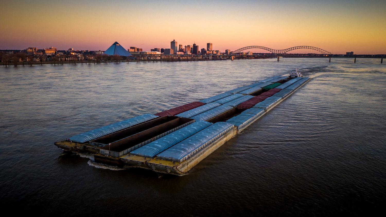 Mississippi River Barge by Peter Barta