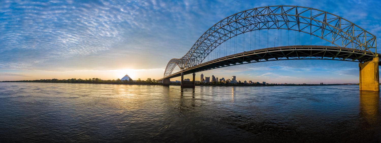 Hernando de soto Bridge sunrise, Memphis, TN by Peter Barta