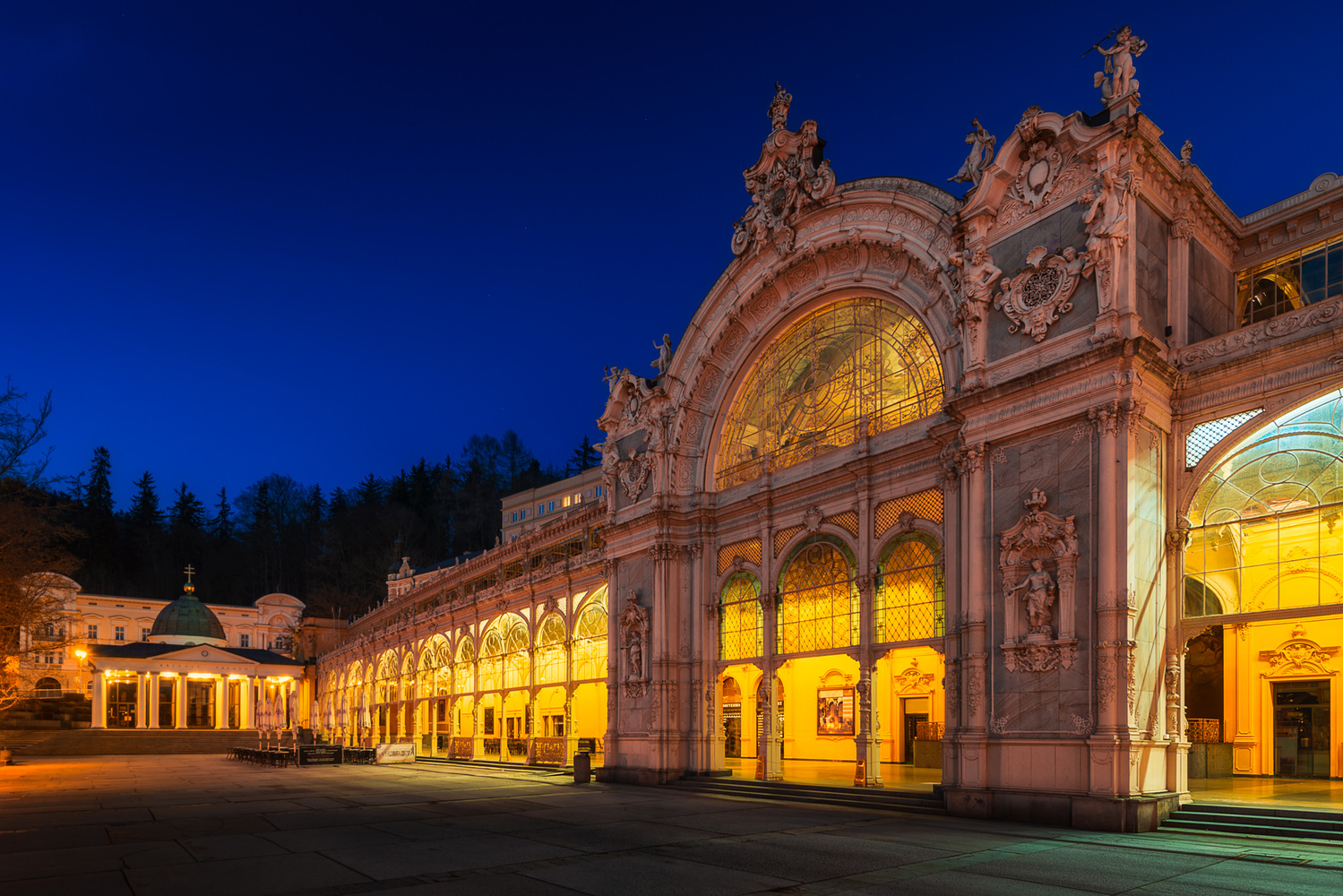 The Colonnade at Night | Mariánské Lázně, Czech Republic by Nico Trinkhaus
