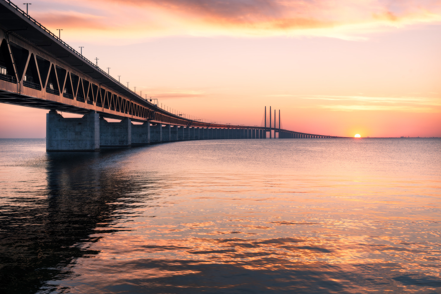 The Öresund Bridge connecting Denmark and Sweden by Nico Trinkhaus
