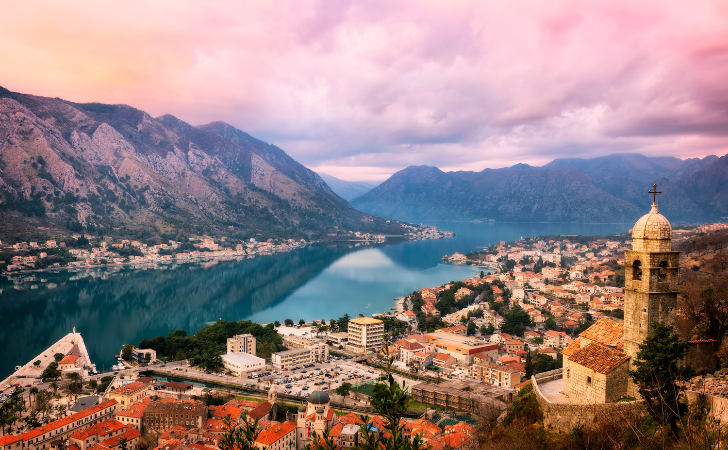 Bay of Kotor Sunset Panorama | Kotor, Montenegro by Nico Trinkhaus