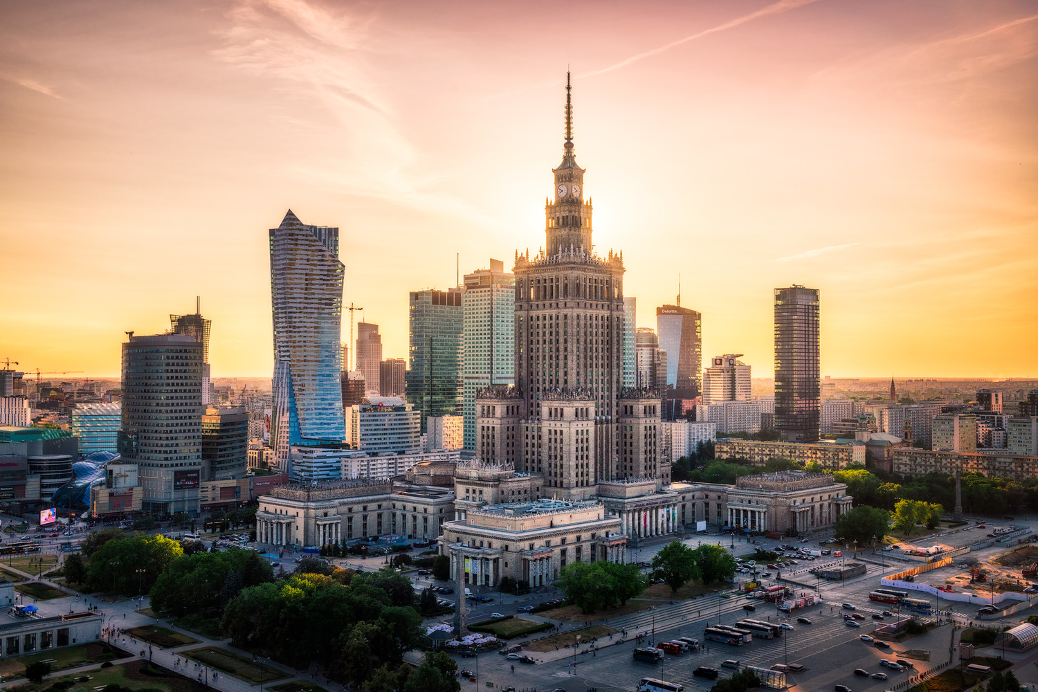 Warsaw Skyline at Sunset | Warsaw, Poland by Nico Trinkhaus