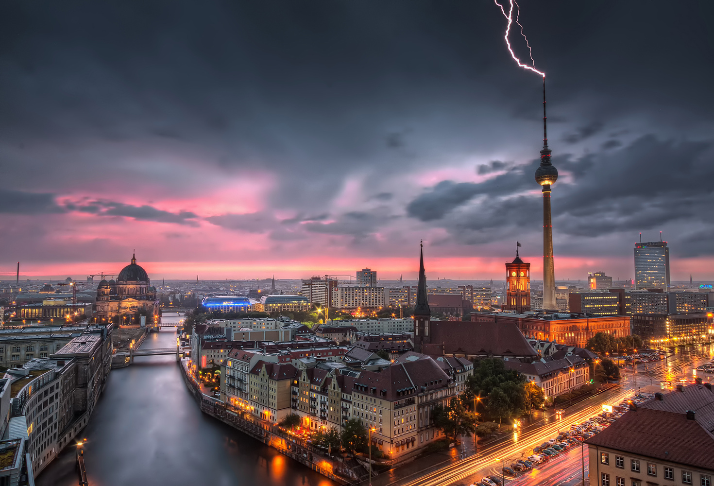 Thunderstorm at Alexanderplatz | Berlin, Germany by Nico Trinkhaus
