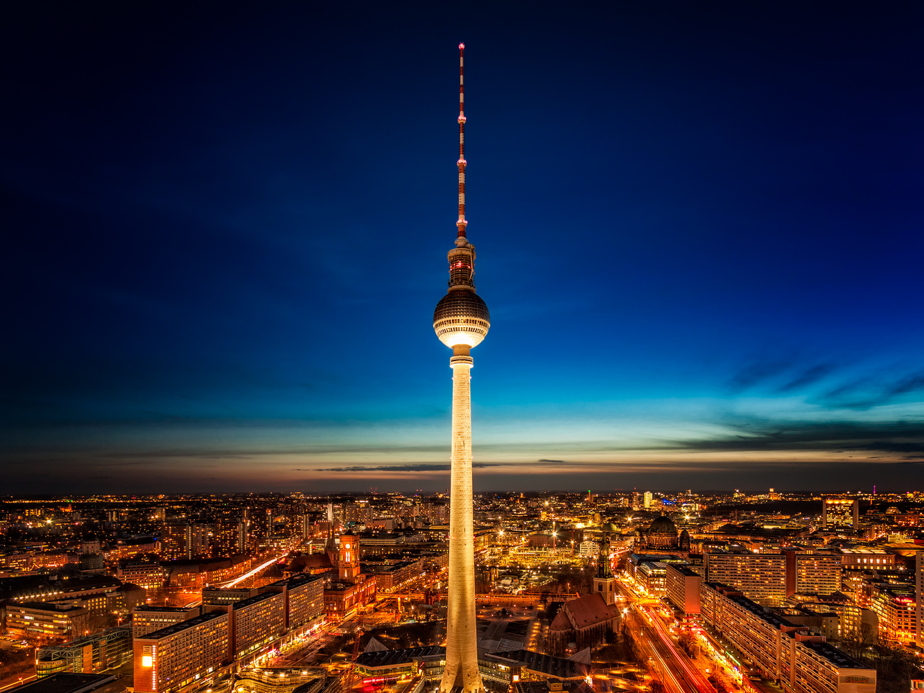 TV Tower at Night from Park Inn by Radisson | Berlin, Germany by Nico Trinkhaus