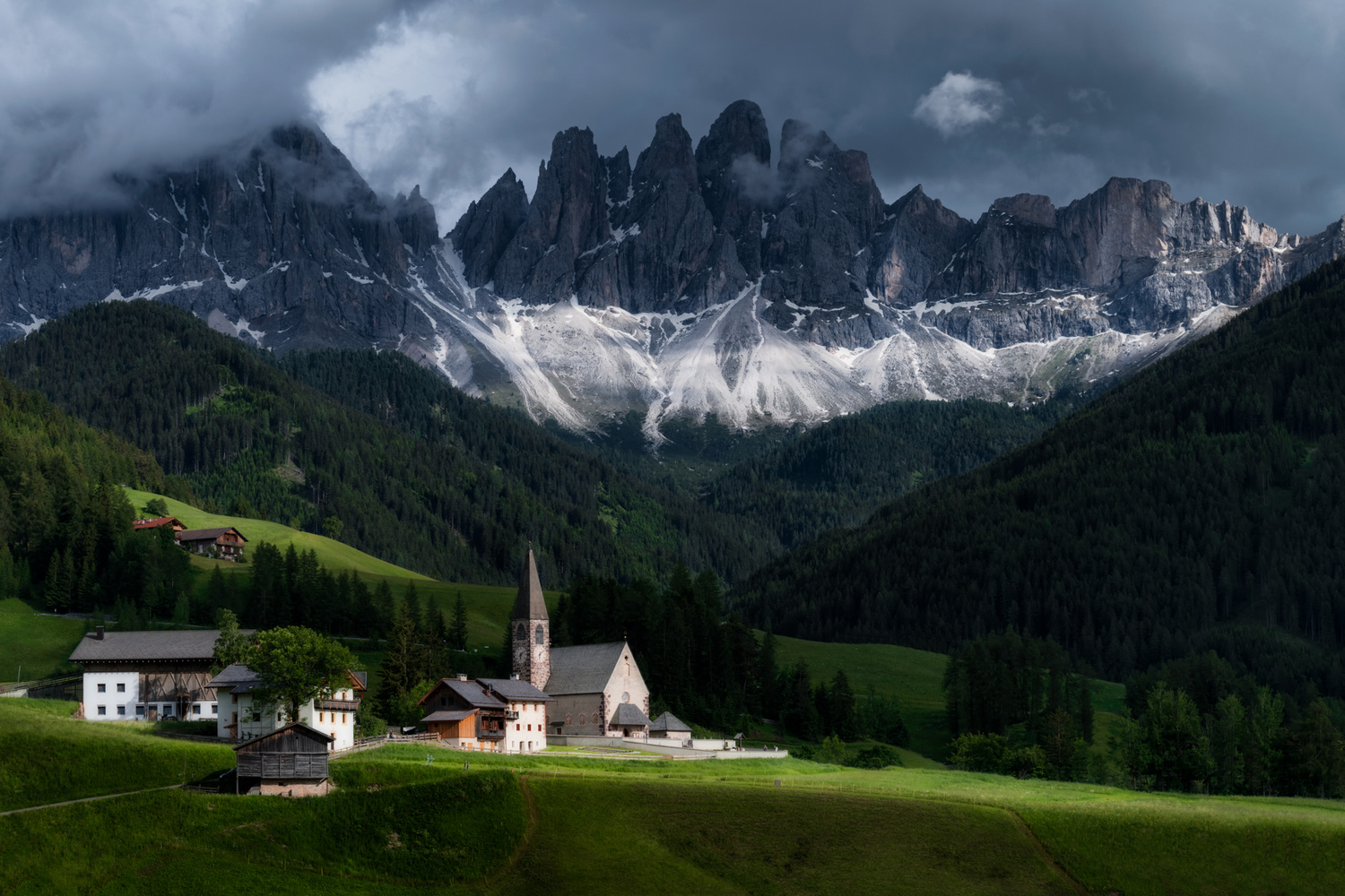 Santa Maddalena and the Odle Mountain Group, Italy by Nico Trinkhaus