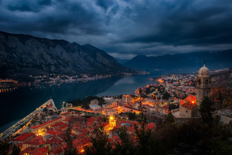 Kotor Bay View At Night | Montenegro by Nico Trinkhaus