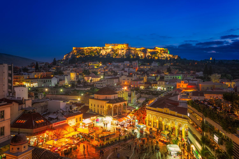 Monastiraki Square at night | Athens, Greece by Nico Trinkhaus