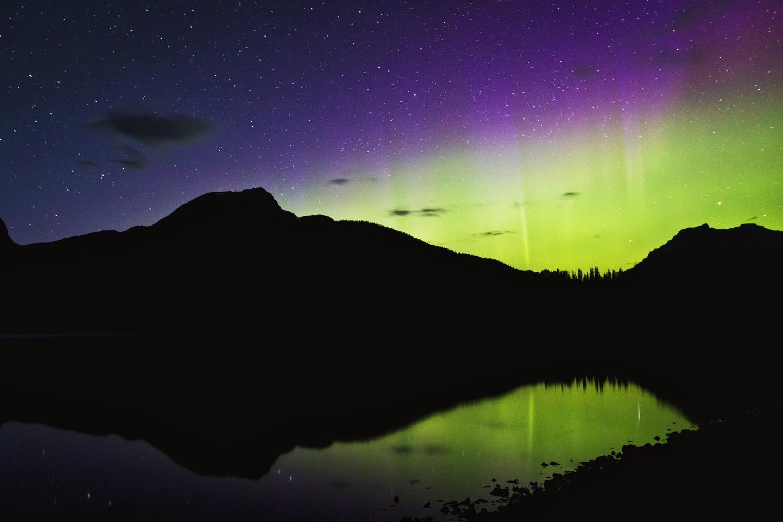 Northern Lights at Hector Lake, Alberta by Lee Hanyo