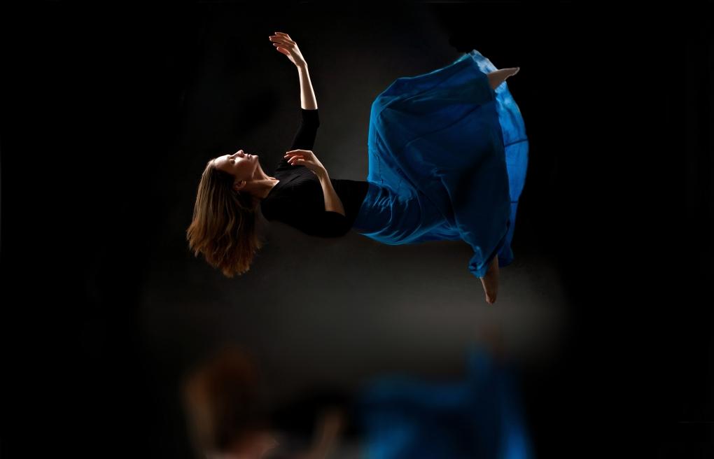 Self portrait Dancer in flight by Mimika Cooney