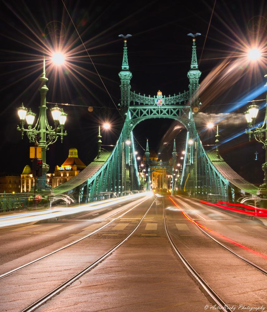 Night trails on the Liberty Bridge by Riccardo Mattei
