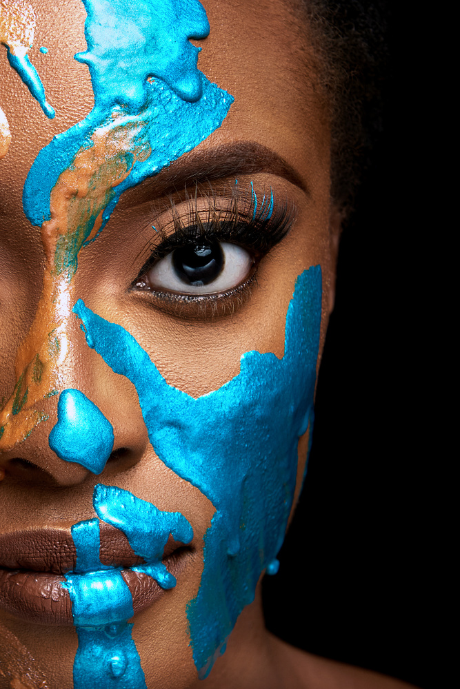 Metallic Blue Face by Eric Dejuan